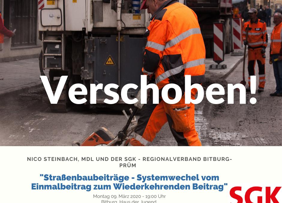 Verschoben – Veranstaltung zu Straßenausbeiträgen am 09. März 2020!