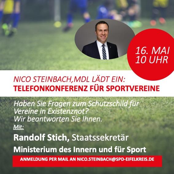 Landtagsabgeordneter Nico Steinbach lädt Sportvereine zu Telefonkonferenz ein