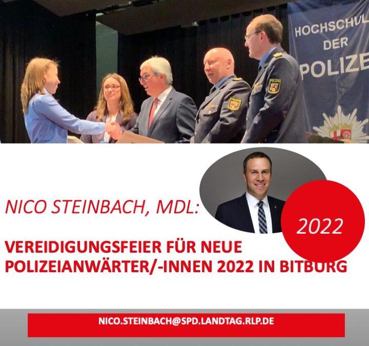 Vereidigungsfeier für neue Polizeianwärter/-innen findet 2022 in Bitburg statt!