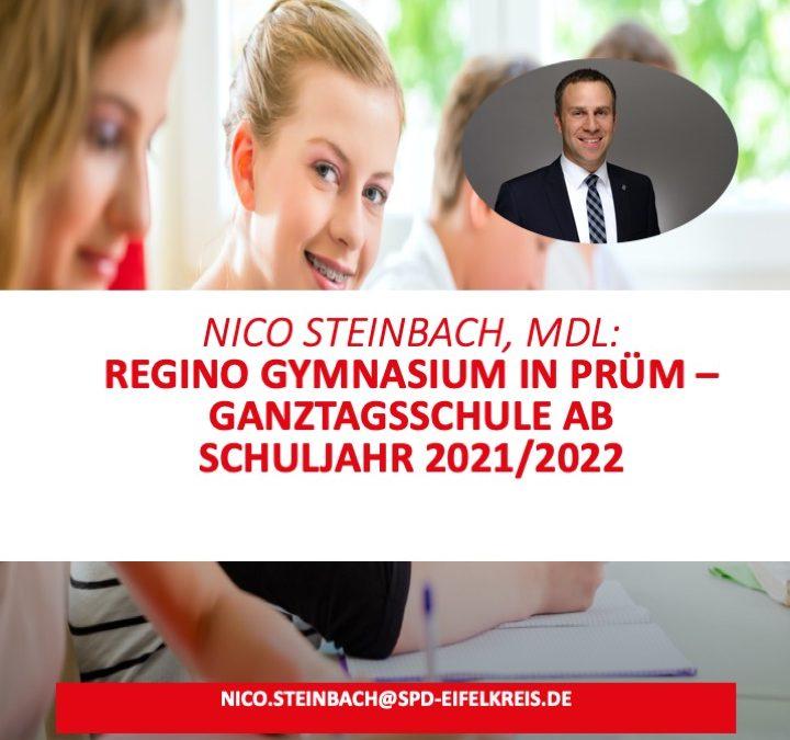 Nico Steinbach, MdL: Regino Gymnasium in Stadt Prüm kann ab dem Schuljahr 2021/2022 Ganztagsschule werden
