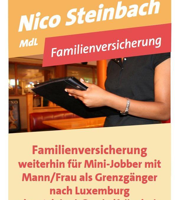Krankenversicherung für Familienangehörige mit Minijob von in   Luxemburg angestellten Arbeitnehmern bleibt bestehen