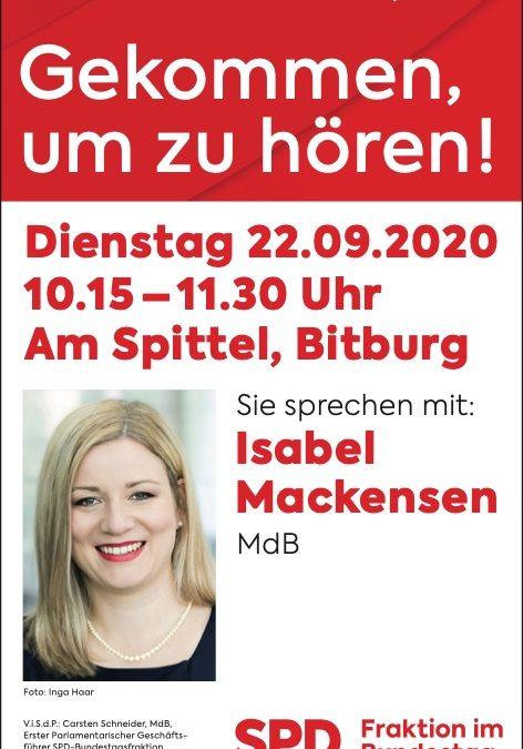 Isabel Mackensen, MdB und Nico Steinbach, MdL auf dem Spittel in Bitburg