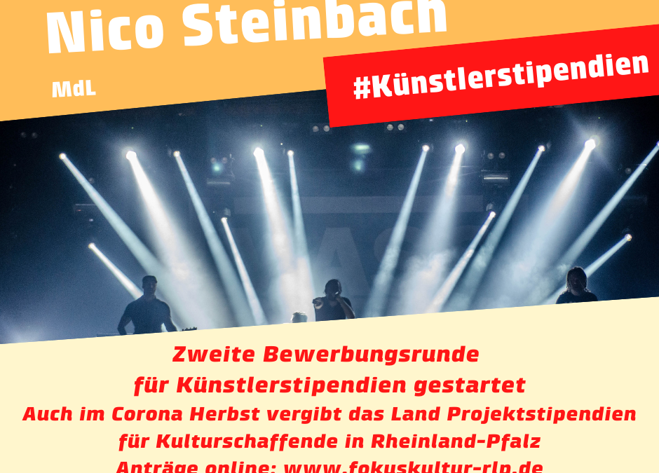 Abgeordneter Nico Steinbach: Zweite Bewerbungsrunde für Künstlerstipendien des Landes gestartet