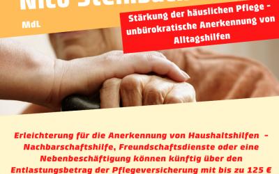 Haushaltshilfen für Pflegebedürftige werden unbürokratisch anerkannt