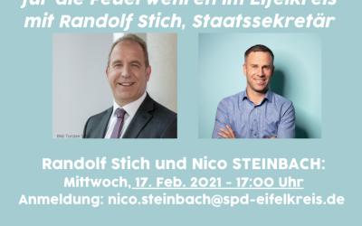 Digitale Blaulichtkonferenz für die Feuerwehren im Eifelkreis mit Randolf Stich, Staatssekretär
