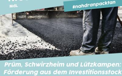 Die Stadt Prüm, die Ortsgemeinden Schwirzheim und Lützkampen erhalten 331.000 € Zuwendung aus dem I-Stock 2021