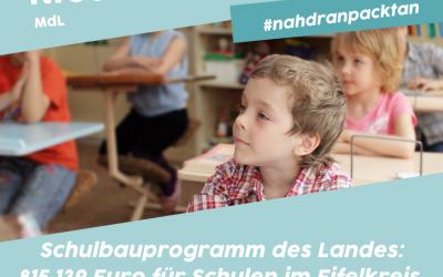 Schulen im Eifelkreis erhalten 815.139 € aus dem Schulbauprogramm des Landes