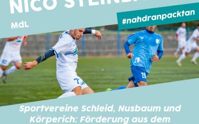 Sportvereine Schleid, Nusbaum und Körperich erhalten insgesamt 58.250 € Förderung aus dem Sonderprogramm 2021