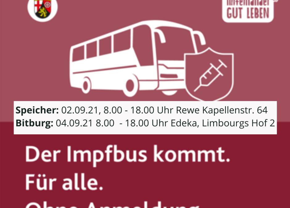 Impfbus am 02. September in Speicher und am 04. September in Bitburg